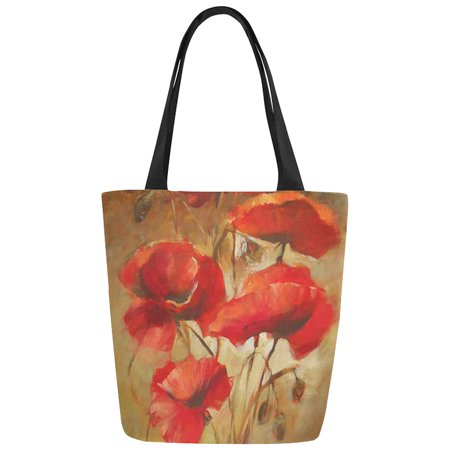 Flowers Tote Bag Handbag Purse (ASHLEIGH Vintage Poppy Flowers Oil Painting Art Canvas Tote Bag Shoulder Handbag for Women Girls)