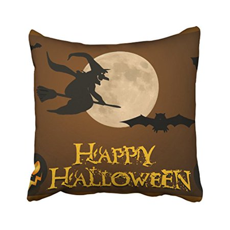 Halloween Pumpkin Borders Clip Art (WinHome Vintage Halloween Witch Riding Broom Pumpkin Black Bat Silhouette Art Polyester 18 x 18 Inch Square Throw Pillow Covers With Hidden Zipper Home Sofa Cushion Decorative)