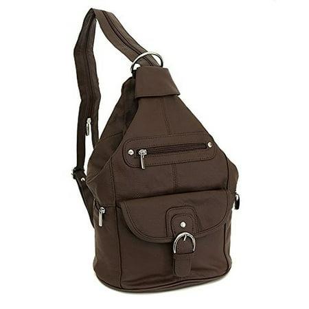 Womens Leather Convertible 7 Pocket Medium Size Tear Drop Sling Backpack Purse Shoulder