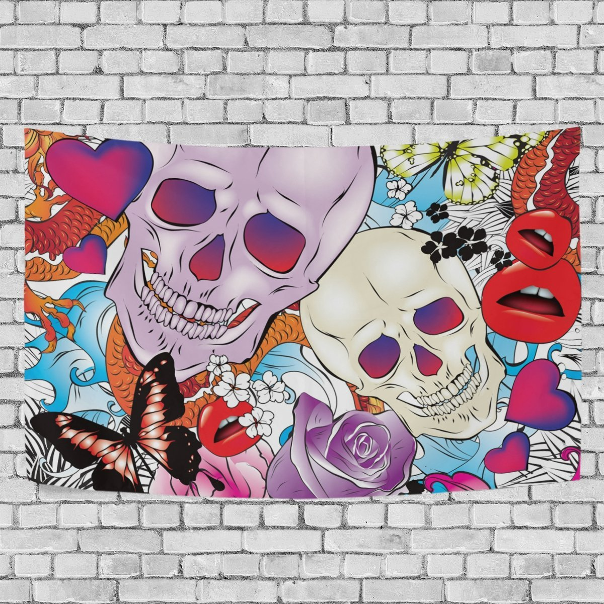 MYPOP Rose Flower Skull Tapestry Wall Hanging Decoration Home Decor Living Room Dorm 60x51 inches