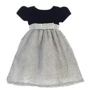 Baby Girls Black Silver Glitter Velvet Corded Tulle Occasion Dress 3-24M