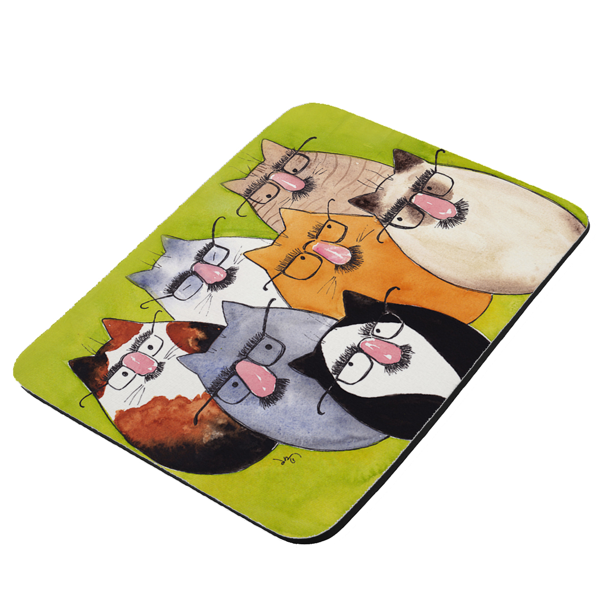 Seven Incognito Kitties Abstract Cat Art by Denise Every - KuzmarK Mousepad / Hot Pad / Trivet