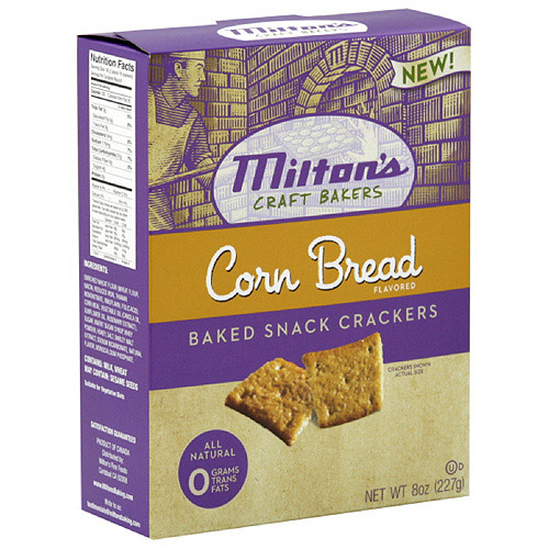 Milton's Corn Bread Baked Snack Crackers, 8 oz  (Pack of 12)