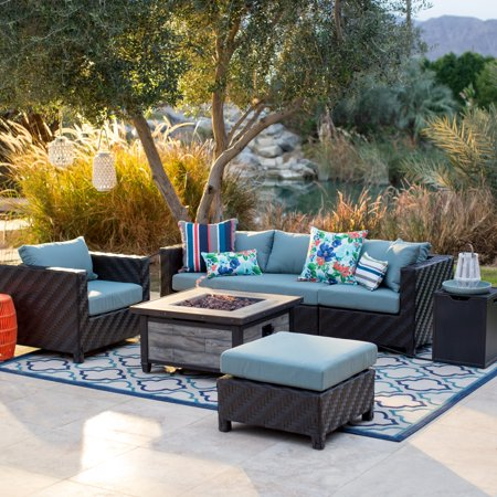 Belham Living Cara All-Weather Wicker Fire Pit Conversation Set (Conversation Sets With Fire Pit)