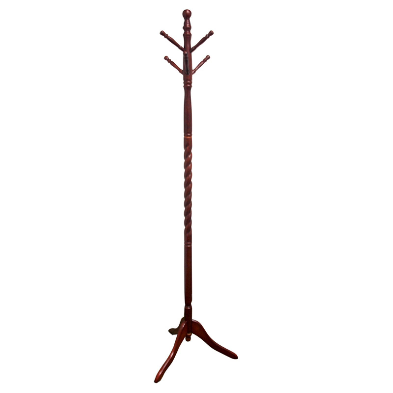ORE International Twist Wood Coat Rack, Cherry
