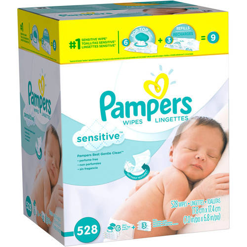 Pampers Sensitive Baby Wipes Combo Box, 6 Pop-Top Packs + 3 Refills (528 count) by Pampers