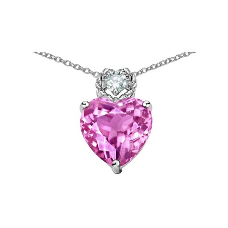 Star K 8mm Heart Shape Created Pink Sapphire Pendant Necklace in Sterling (Sterling Silver Star Shape)