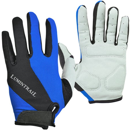 Lumintrail Shock-Absorbing Riding Full Finger Cycling Gloves Breathable Sport for Men and Women Black Professional Bike Glove