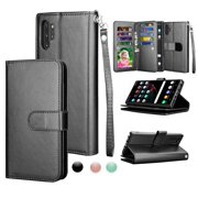 Njjex Wallet Cases for Galaxy Note 10 10+ Plus 5G Note 9 8, Njjex [Wrist Strap] Luxury PU Leather Wallet Flip Protective Case Cover with 9 Card Slots & KickStand -Black