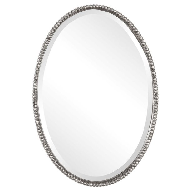 Beaumont Lane Beaded Metal Oval Wall, Oval Silver Beaded Mirror