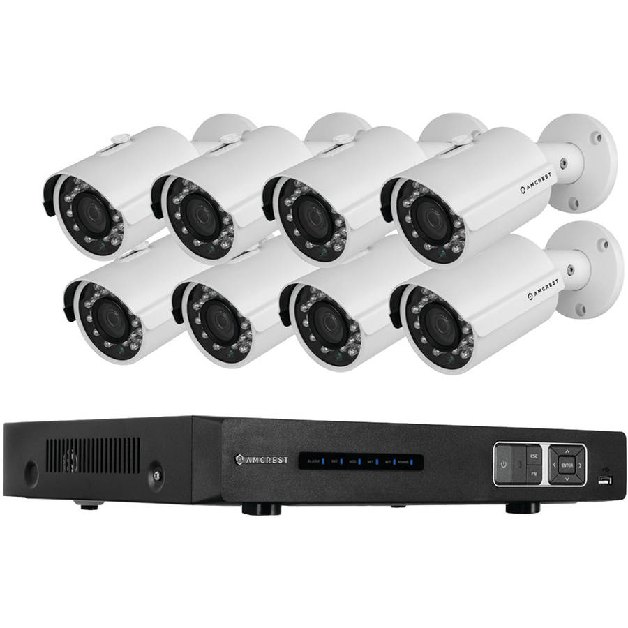 Amcrest AMDV7208M-8B-B 720p Tribrid HDCVI 8-Channel 2TB DVR Security System with 8 1-Megapixel Bullet Cameras, Black