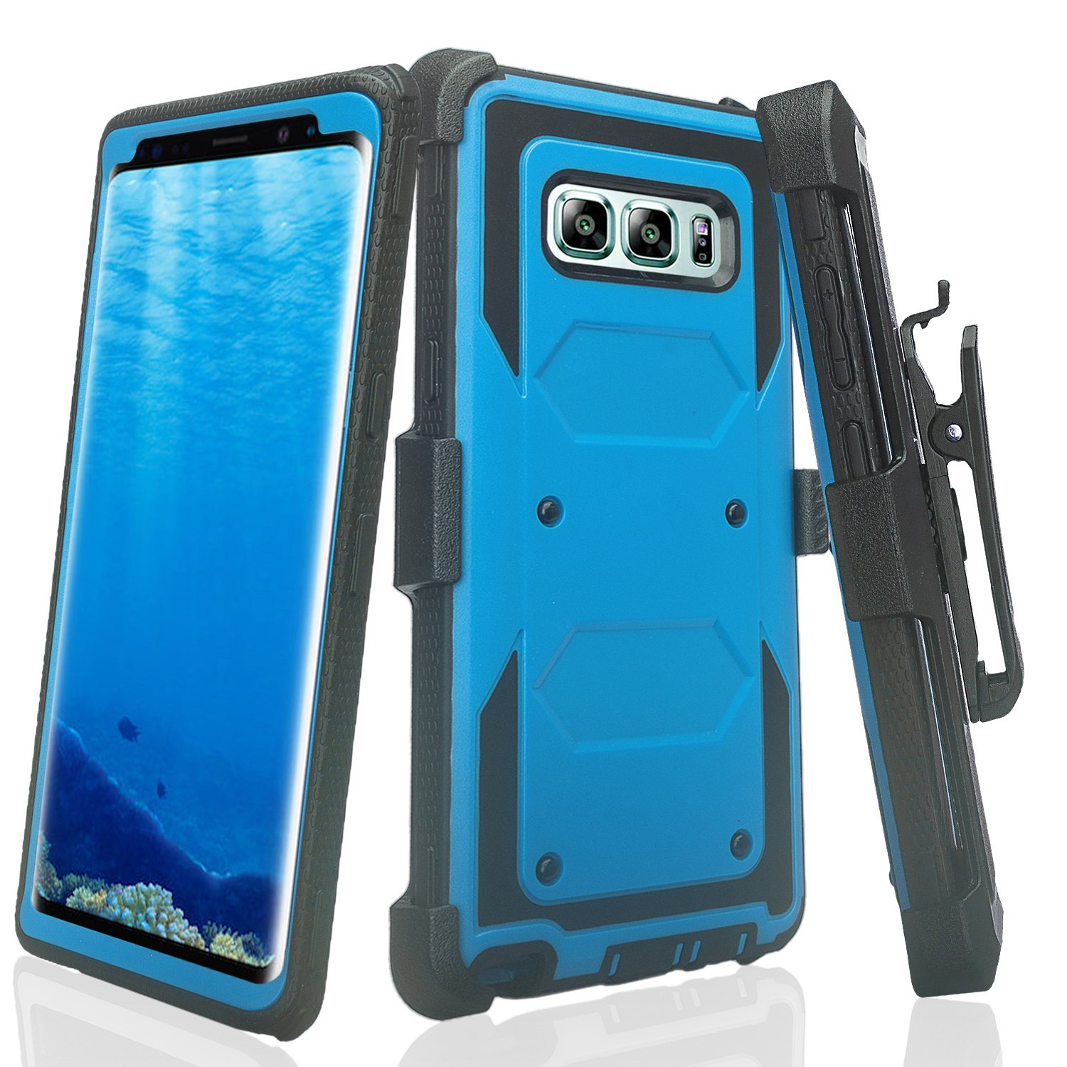 Samsung Galaxy Note 8 Case, Rugged Heavy Duty Holster Shell Combo Clip Cover - Purple