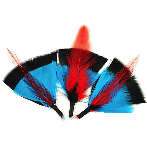 "Feather Picks 3"" 3/Pkg-Black, Turquoise & Red"