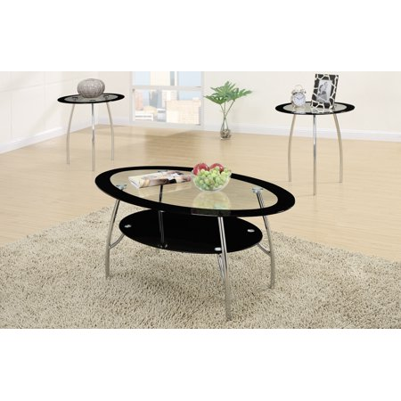 Scrolled Edge Glass Top Table - Oval Black Edge Glass Top 3 Pieces Coffee End Table Set