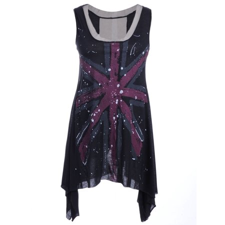 S/M Fit Black Union Jack Flag Print Pointed Hem Sheer Accented Top