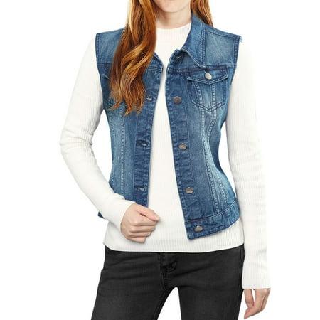 Allegra K Women's Buttoned Washed Denim Vest w Flap Pockets Blue (Size XS / 2)