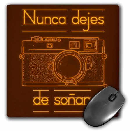 3dRose Picture of a Brown Rangefinder Camera Nunca dejes de soar, Mouse Pad, 8 by 8 inches