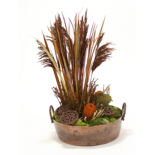 Distinctive Designs Natural Plumes, Blade Grass and Protea in Round Planter