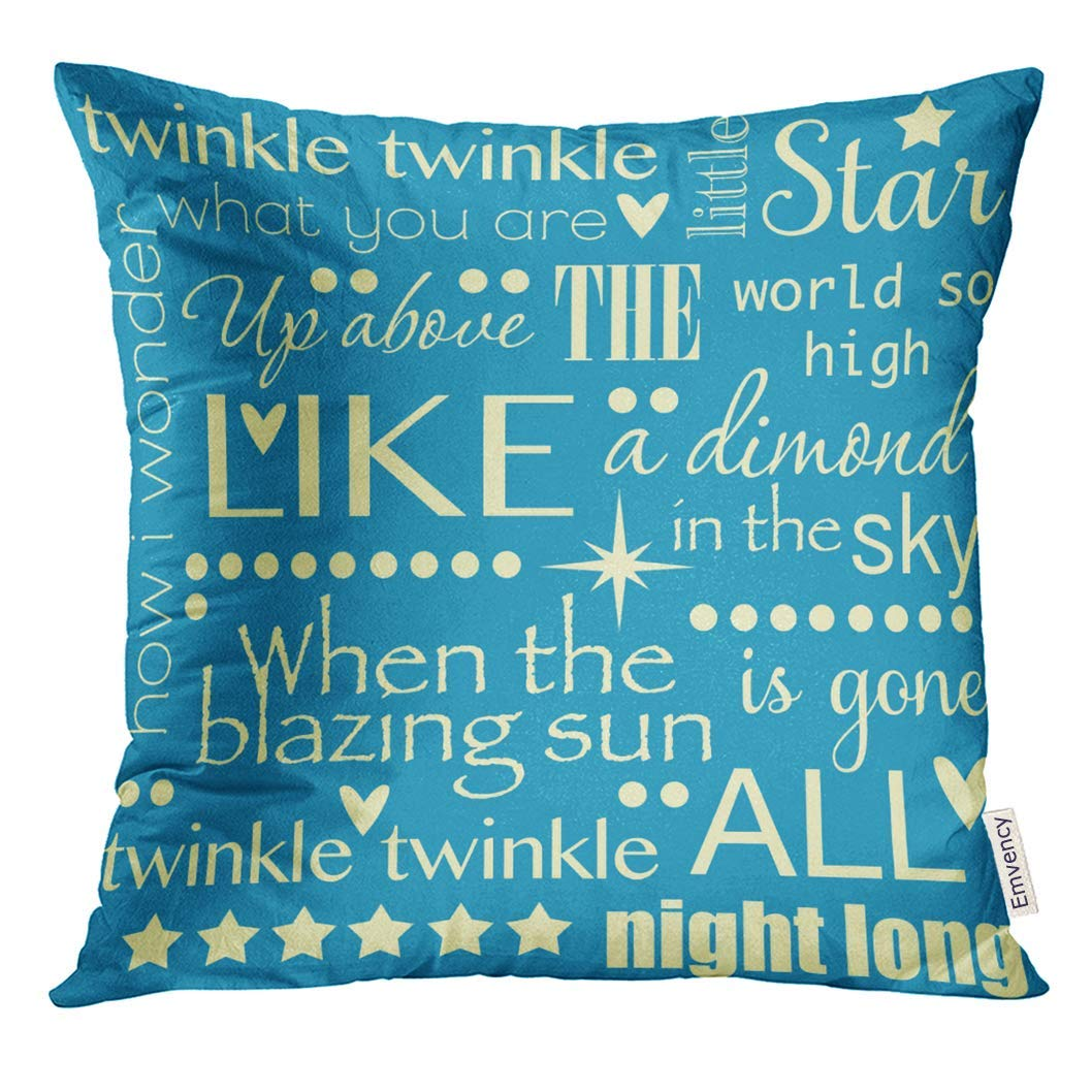 USART Baby Twinkle Little Star Nursery Rhyme Word Pastel Blue and Yellow Child Pillow Case 18x18 Inches Pillowcase