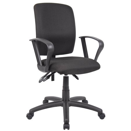 OCC Multil-Function Task Chair Computer Desk chair-Middle Back Ergonomic Office Chair- Black Fabric with Adjustable Loop