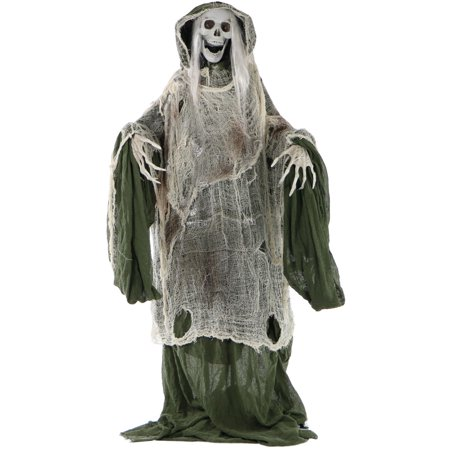 Indoor Halloween Decoration Crafts (Haunted Hill Farm Life-Size Animated Moaning Skeleton Prop w/ Rotating Head for Indoor or Outdoor Halloween Decoration,)