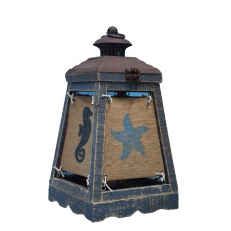 Lantern Accent Lamp (Set of 2 Blue and Brown Distressed Finish Cape Lantern Accent Lamps 13