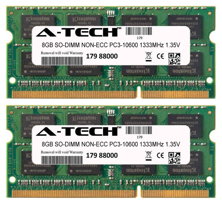 16GB Kit 2x 8GB Modules PC3-10600 1333MHz 1.35V NON-ECC DDR3 SO-DIMM Laptop 204-pin Memory Ram