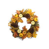 Harvest Collection Cream Pumpkin & Pine Cone Mix Wreath