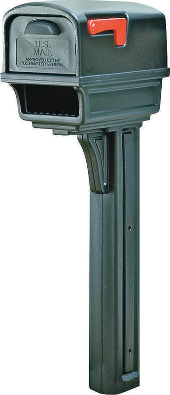 Gibraltar Mailboxes Gentry Large Plastic Black All-in-One Mailbox and Post Combo,... by Solar Group