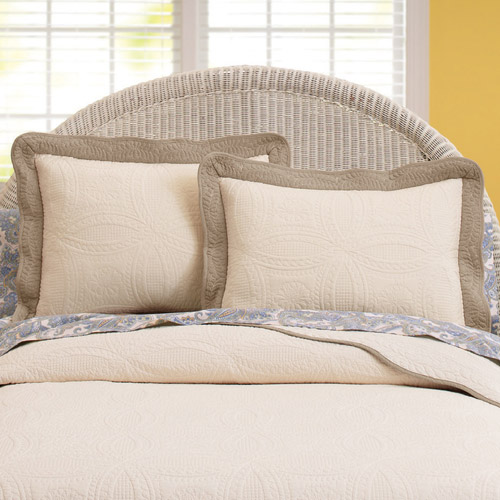 Better Homes and Gardens Solid Border Quilted Shams, Ivory, Set of 2