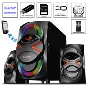 Boytone BT-626F, 2.1 Bluetooth Powerful Home Audio Speaker System, with FM Radio, SD Slot, USB Ports, Digital Playback, 54 Watts, Disco Lights, Remote Control, for Smartphone, Tablet. 110/220V