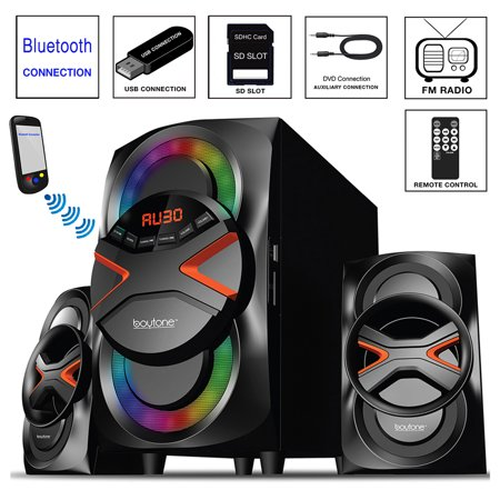 Boytone BT-626F, 2.1 Bluetooth Powerful Home Audio Speaker System, with FM Radio, SD Slot, USB Ports, Digital Playback, 54 Watts, Disco Lights, Remote Control, for Smartphone, Tablet. 110/220V ()