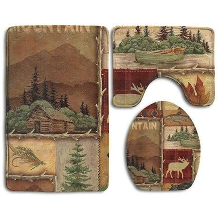 GOHAO Rustic Lodge Bear Moose Deer 3 Piece Bathroom Rugs Set Bath Rug Contour Mat and Toilet Lid Cover (Rustic Rugs Bathroom)