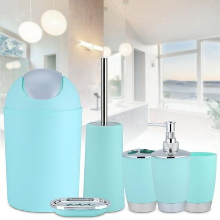 Tmishion 6pcs Household Bathroom Accessory Set Soap Dish Lotion Dispenser Tumble Trash