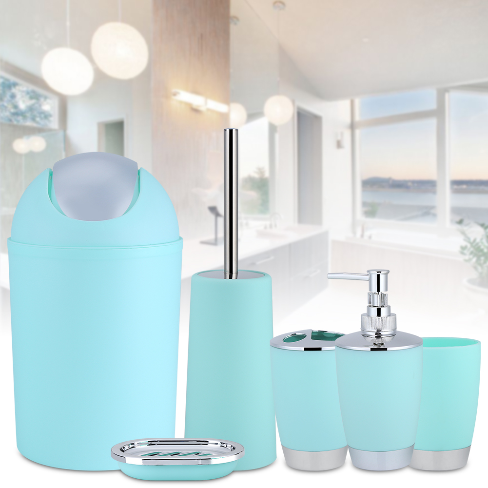 TMISHION 6Pcs Household Bathroom Accessory Set, Soap Dish,Lotion Dispenser,Tumble,Trash Can,Toothbrush Cup,Toilet Brush (Light Green)