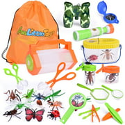 27 PCs Bug Catcher Kits for Kids, Outdoor Explorer Kit with Bug Containers, Butterfly Nets, Magnifying Glass, Binoculars, Insect Traps, Bug Tongs, Telescope, Tweezers, Compass and Backpack F-304