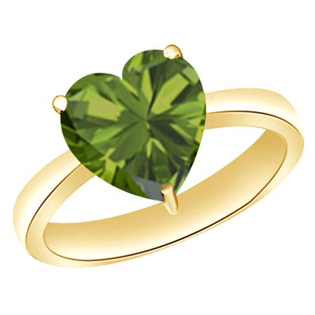 Heart-Cut Simulated Green Peridot August Birthstone Solitaire Ring In 14K Yellow Gold Over Sterling Silver (1 Cttw)
