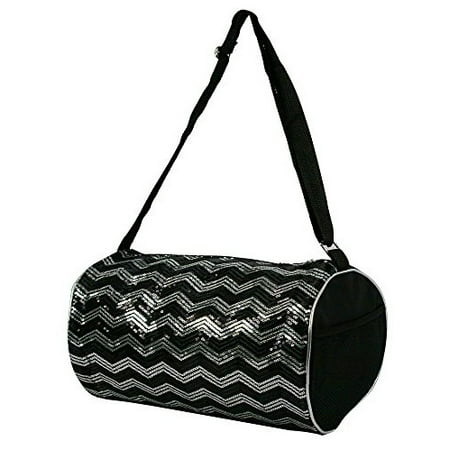 dc834e7f26e6 1 Perfect Choice - 1 Perfect Choice Kid s Girls Dance Chevron Wave Sequin  Duffle Bag Gymnastics Cheer (Black) - Walmart.com