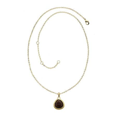 X & O 18KT Matte GEP Linear Small Teardrop Necklace with Smoky Quartz (Swarovski Smoky Quartz Necklace)