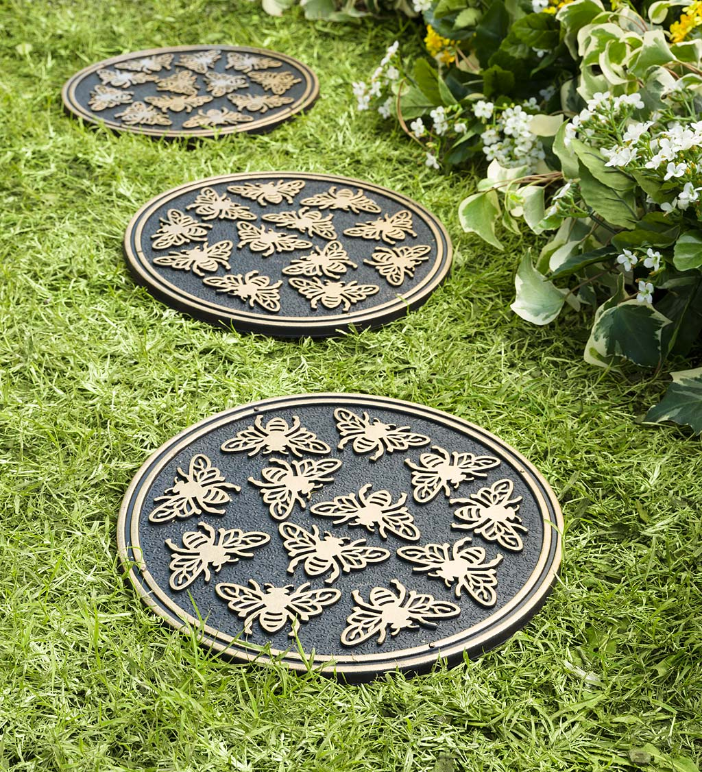 Recycled Rubber Garden Pathway Round Stepping Stones, Set of 3