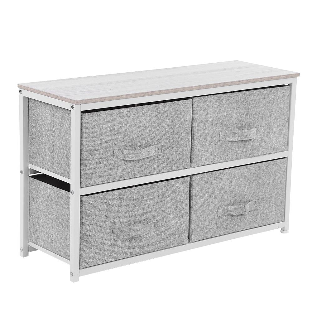 WALFRONT 4 Drawer Storage Chest Shelf Unit Multi-Purpose Storage Cabinet with Removable Fabric Drawers Organizer Unit for Dorms Bedroom Hallway Entryway Closets Gray Iron Frame