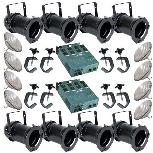 8 Black PAR CAN 56 300w PAR56 WFL 2 Dimmer C-Clamps