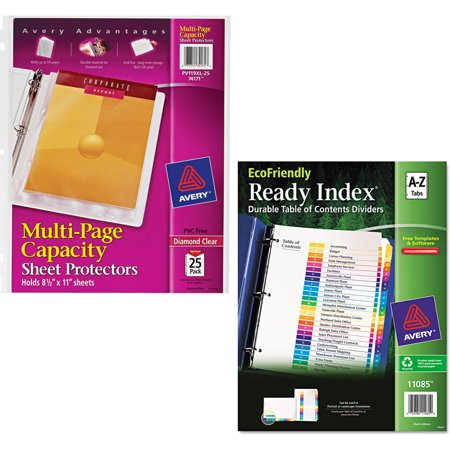Avery Diamond Clear Multi-Page Capacity Sheet Protectors 74171, Acid Free, 25/Pack and Avery EcoFriendly Ready Index Table of Contents Divider, Multicolor A-Z, 11 x 8-1/2 Bundle ()