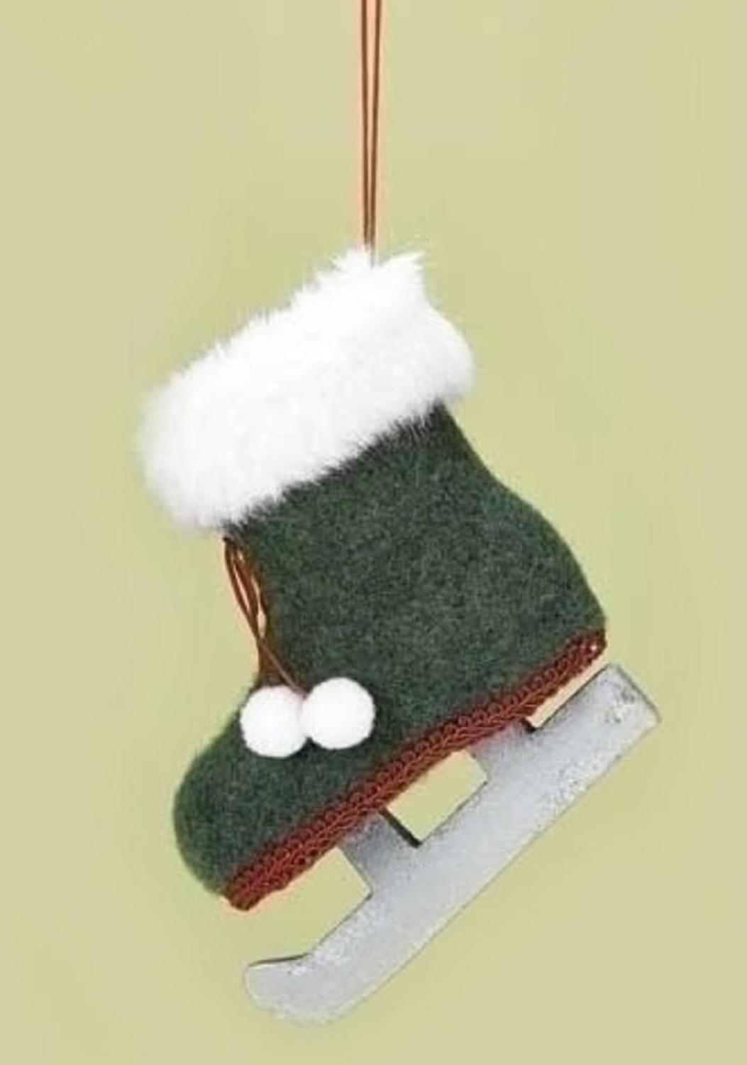 """4.25"""" Country Alpine Green and White Fur-Trimmed Ice Skate Christmas Ornament with Pom Poms"""