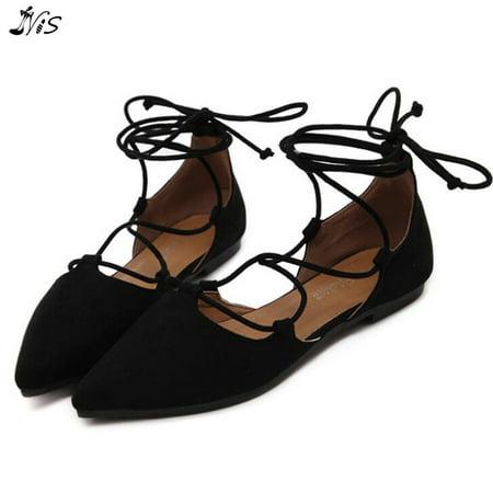 5766d8c1e262 NIS Women s Ballet Straps Lace Up Flats Suede Pointy Toe Shoes