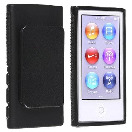 Insten TPU Rubber Gel Soft Skin Case Cover w/ Belt Clip Black For Apple iPod Nano 7 G 7th Gen