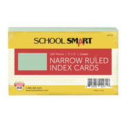 School Smart Ruled Index Cards, 3 x 5 Inches, Green, Pack of 100