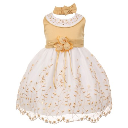 Little Girls Gold White Floral Jeweled Flower Girl Bubble Dress (White Gold Girl)