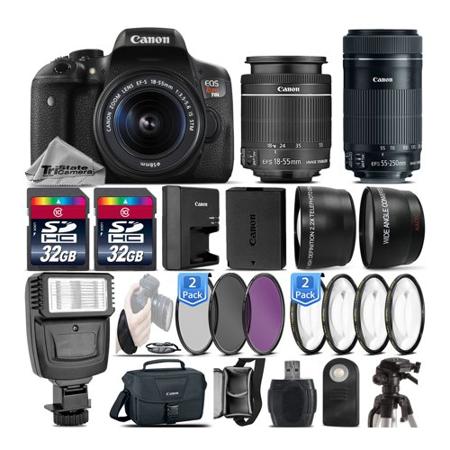 Canon EOS Rebel T6i DSLR Camera / 750D Camera + 18-55mm STM + 55-250mm STM - 64GB Kit Bundle