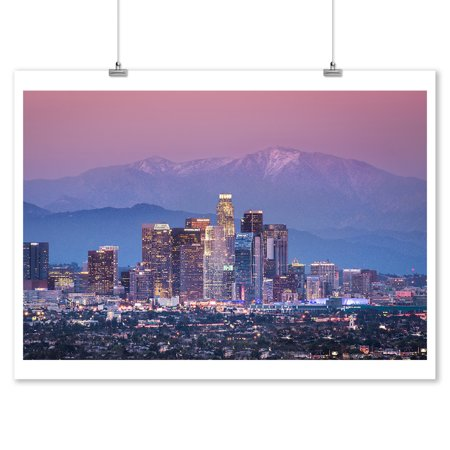 Los Angeles, California - Downtown & Mount Baldy - Lantern Press Photography (9x12 Art Print, Wall Decor Travel - Downtown Los Angeles California Art